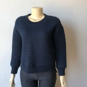 Madewell Navy Blue Quilted Crew Sweater Size XS